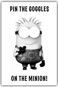 pin the goggles on the minion!  Gonna have this at my birthday party!