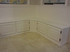 distracting debbie: Salvage Banquette seating... upcycle, DIY, storage bench seat