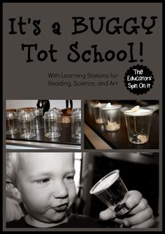 The Educators' Spin On It: Tot School - Buggy Playdate 21 months with Learning stations for Reading, Science, and Art