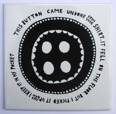 This Button ceramic tile by misterrob on Etsy, $38.00