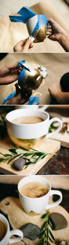 DIY Gold Dipped Mugs