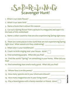 FREE! Spring Scavenger Hunt for the Weekend!