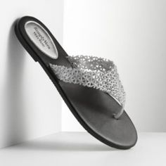 Simply Vera Vera Wang Glitter Lace Thong Flip-Flops - Women