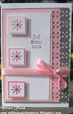 idea, border punch, feel better, craft cards, paper crafts, little flowers, flower punch, baby showers, baby shower cards