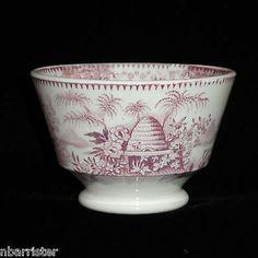 Staffordshire Childs Handleless Cup Teaset BEEHIVE Bee Skep Garden 1840 Ridgway