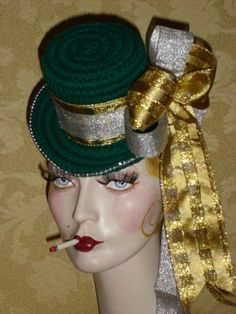 Holiday Green, Silver, Gold Flapper Mini Top Hat Fascinator SPECIAL PRICE. $25.00, via Etsy.
