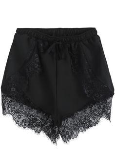 Black Elastic Waist Contrast Lace Shorts 14.67 // lace lovers