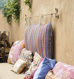 patio idea, headboard, pillow, curtain rods, patios, outdoor spaces, seating areas, garden, manhattan beach