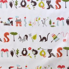 A is for Apple - Fox Hollow - Organic Designer Cotton - Monaluna Fabrics - 1 yard. $16.00, via Etsy.