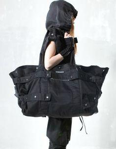 Oversized Black Denim Bag