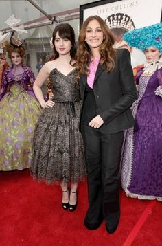 "Lily Collins and Julia Roberts celebrate the premiere of ""Mirror, Mirror""."