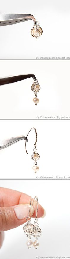 Tutorial how to make dangling earrings with pearl