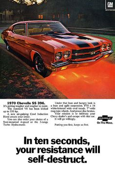 1970 Chevrolet Chevelle SS 396 ad poster
