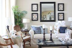 beaches, mirrors, shell, living rooms, frame, paint decor, beach houses, shadow box, live room