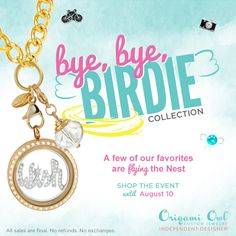 Origami Owl retiring pieces! Get yours before they are all gone. Some pieces are already out of stock. August 10th is the last day to order. Click on the pic to order yours today!