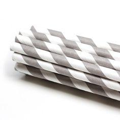 Gray striped paper straws
