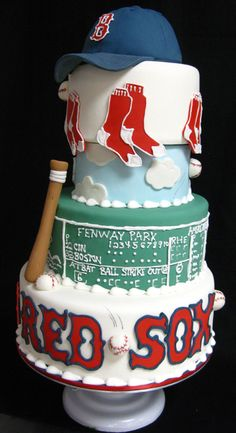 swing we felt we needed to post about the cakes we've done about the two most rivaled teams of the game.  The Boston Red Sox and New York Yankees.  First off, for our home team, the Red Sox.  Yes, this cake is bigger than the next because we're slightly partial : )