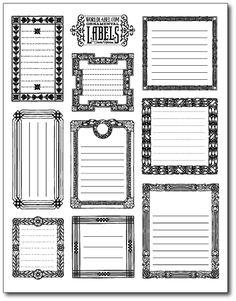 vintage labels, vintag frame, printable templates, printable labels, diy gifts