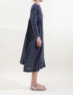 Arts & Science Side Chibana Long Sleeve Dress- Navy