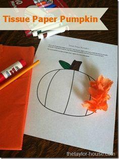 Fall Craft: Tissue Paper Pumpkin #Halloween #fallcrafts tissu paper, fall crafts, halloween crafts, paper pumpkin, fallcraft