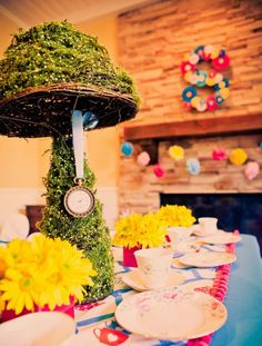 Alice in Wonderland Party ( take lamp and cover with moss stuff!)