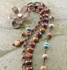 Copper Bracelet Flower Pearls Turquoise~