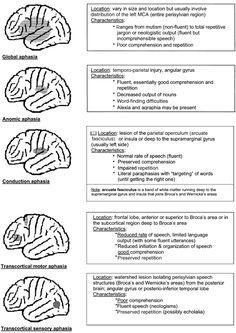 Aphasia types. Repinned by SOS Inc. Resources.  Follow all our boards at http://pinterest.com/sostherapy  for therapy resources