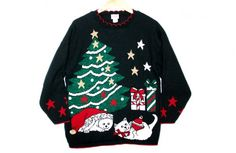 Kitty Cats Vintage 80s Acrylic Tacky Ugly Christmas Sweater $50