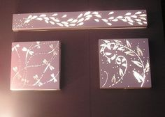canvas, with any decal or stickers, spray paint and then put lights behind. how pretty!