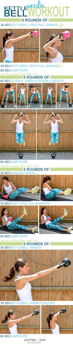 Kettlebell Cardio Workout -- takes 30 minutes and you'll need a heavy and lighter kettlebell and jump rope