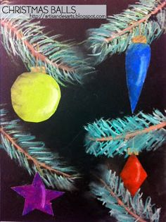 students drew branches using chalk pastels onto black paper. Then, they drew Christmas balls on white construction paper using oil pastels. ...