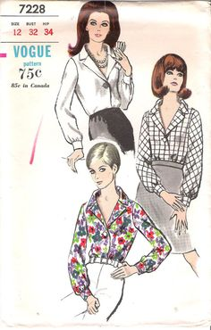Vintage 1960s Vogue 7228 Blouse Sewing Pattern