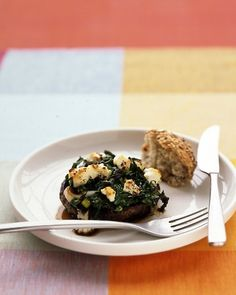 Baked Portobellos with Leeks, Spinach, and Goat Cheese
