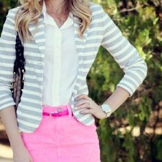 Pink with gray stripes & white