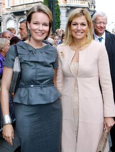 """PogglePoppy:  Princess Mathilde of Belgium and Princess Maxima of The Netherlands at the opening of the """"M"""" Museum on September 20, 2009 in Leuven, Belgium."""