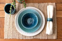 Set the table with shades of blue.