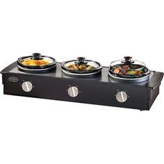 Nostalgia Electrics 2.5-Quart Triple Slow Cooker Buffet, Stainless/Black