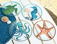 Sea creature plates, with octopus design.