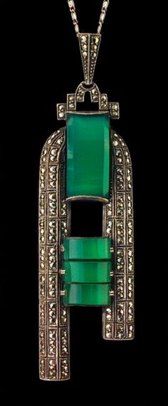 THEODOR FAHRNER   Art Deco Pendant   Silver, chalcedony & marcasite   Length: 8.7 cm (3.4 in)  Width: 2.3 cm (0.9 in)   Marks: 'TF' & 'Sterling'   German. Circa 1930