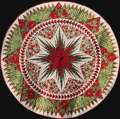 Christmas Celebration Tree Skirt ~ Made by Certified Instructor Judy Wurm ~Quiltworx.com, Judy Niemeyer Quilting