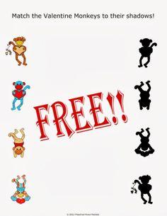 {FREE} Preschool Valentine Shadow Matching - Preschool Powol Packets