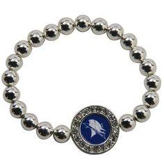 NCAA ECSU Vikings Round Crystal Beaded Stretch Bracelet
