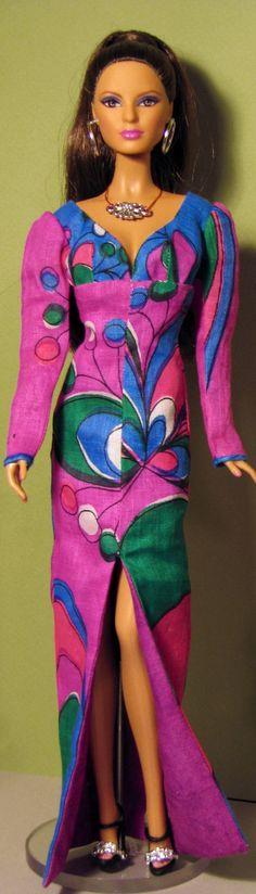 Barbie dress made from vintage linen hankie