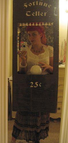 """fortune teller booth halloween costume, """"I see you... Buying me a drink right about now"""""""