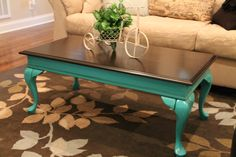 Coffee table remake! Done in a beautiful Patina Green and java gel stain on top.  Glazed with Van Dyke Brown Glaze and sealed with General Finishes Top Coat.  Love everything about it! #generalfinishes #patinagreen #javagelstain