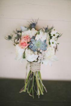 Lovely wildflower bouquet via http://theeverylastdetail.com/rustic-peach-green-farm-wedding/
