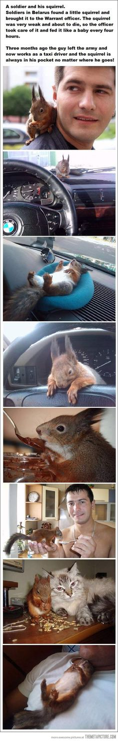 So sweet. Soldier rescued baby squirrel and now they are best pals!