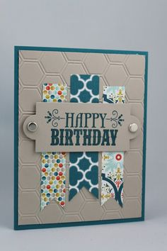 Cute Birthday Card! Washi tape, brads, a die cute and some background embossing. Great for men or women!