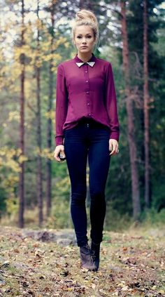 Wine colour semi sheer blouse, indigo skinny and brown ankle boots