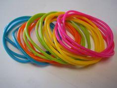 Neon Rubber Bracelets - Set of 20 -  Gummy Bracelets Jelly Bracelets Pink Orange Yellow Blue Green via Etsy